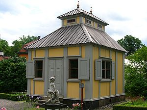 Summer house - Summerhouse of the Swedish scientist, philosopher, and theologian Emanuel Swedenborg in the open-air museum Skansen in Stockholm, Sweden.