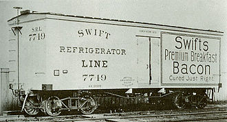Refrigerator car - A builder's photo of one of the first refrigerator cars to come out of the Detroit plant of the American Car and Foundry Company (ACF), built for the Swift Refrigerator Line in 1899