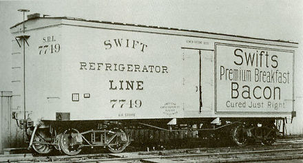 A builder's photo of one of the first refrigerator cars to come out of the Detroit plant of the American Car and Foundry Company (ACF), built for the Swift Refrigerator Line in 1899 Swift Refrigerator Line car, 1899.jpg