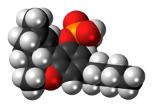 Space-filling model of the THC-O-phosphate molecule