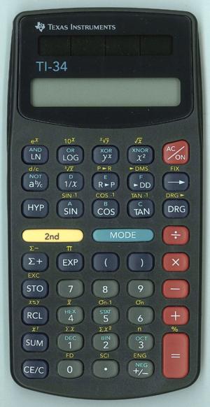 TI-34 - TI-34 calculator, manufactured in China around 1997.