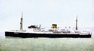 Postcard of TSMV Manunda in Adelaide Steamship Co. livery (buff funnel with black band at top), c.1930