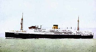Manunda - Postcard of TSMV Manunda in Adelaide Steamship Co. livery (buff funnel with black band at top), c.1930