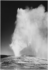 "Taken at dusk or dawn from various angles during eruption. ""Old Faithful Geyser, Yellowstone National Park,"" Wyoming. (v - NARA - 520015.tif"