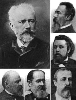 A portrait of a man with gray hair and a beard, wearing a dark jacket, dress shirt and tie. Five smaller portraits surround this one. Four of the men are in dark suits; the fifth wears a military uniform. All of the men have beards; three are balding, while two have dark hair; and two of the men are wearing glasses.