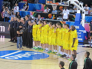 Australia men's national basketball team - Team Australia at the 2014 FIBA World Cup before beating Lithuania 82-75.