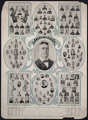 Ban Johnson - Ban Johnson (center) surrounded by the individual portraits of the eight American League teams