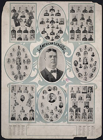 American League - The players' portraits of the 8 franchises/teams of the American League of Professional Basball Clubs (American League) surrounding portrait of AL founder/president Ban Johnson  (1864–1931), at age 39, in the third season of the League, 1903
