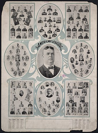 The players' portraits of the 8 franchises/teams of the American League of Professional Basball Clubs (American League) surrounding portrait of AL founder/president Ban Johnson (1864-1931), at age 39, in the third season of the League, 1903 Teams of the American League (2350728586).jpg