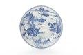 Tefat av porslin med sjölandskap i blå underglasyrmålning - Skoklosters slott - 93546.tif