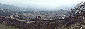 Tehachapi Loop - A panoramic view of the Tehachapi Loop looking north-west