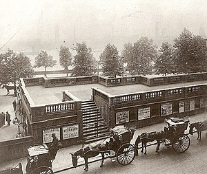 Temple tube station - Rear view over the roof of Temple station in 1899