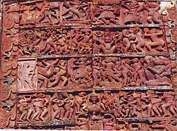 Terracotta carving detail of Radhabinode temple at Jaydev Kenduli
