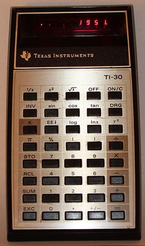 TI-30 electronic calculator, 1976 Texas Instruments TI-30 electronic calculator.JPG