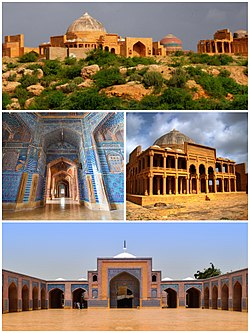 Clockwise from top: View of the Makli Necropolis, Tomb of Isa Khan Hussain at the necropolis, exterior and interior views of the Shah Jahan Mosque