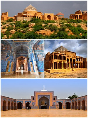 Thatta - Clockwise from top: View of the Makli Necropolis, Tomb of Isa Khan Hussain at the necropolis, exterior and interior views of the Shah Jahan Mosque