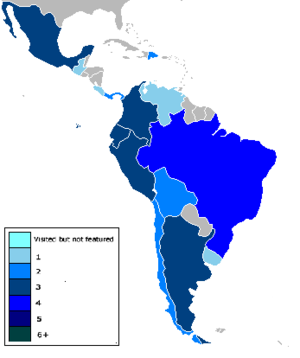 The Amazing Race (Latin America) - Countries that The Amazing Race has visited are shown in colour.