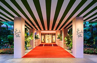 The Beverly Hills Hotel - Entrance in 2015 has had this same look for many decades.