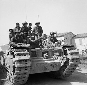 Spring 1945 offensive in Italy - Men of the Jewish Brigade ride on a Churchill tank in the Mezzano-Alfonsine sector, 14 March 1945