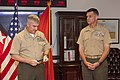 The Deputy Commandant for Programs and Resources, U.S. Marine Lt. Gen. Glenn M. Walters, left, prepares to promote Col. John M. Jansen to the rank of brigadier general during a ceremony at the Pentagon 130719-M-KS211-003.jpg