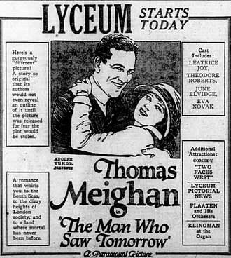 The Man Who Saw Tomorrow (1922 film) - Newspaper ad