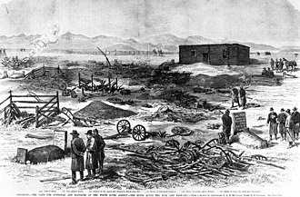 "Ouray (Ute leader) - An etching that appeared in the December 6, 1879 edition of Frank Leslie's Illustrated Newspaper depicts the aftermath of the ""Meeker Massacre."" Meeker grave at lower left; W.H. Post grave at lower right"