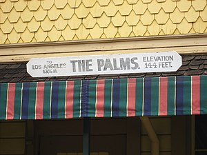 Palms, Los Angeles - Station sign from The Palms train depot now located in Heritage Square Museum