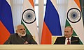 The Prime Minister, Shri Narendra Modi and the President of Russian Federation, Mr. Vladimir Putin at the joint media briefing, at Konstantin Palace, in St. Petersburg, Russia on June 01, 2017 (2).jpg