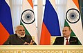 The Prime Minister, Shri Narendra Modi and the President of Russian Federation, Mr. Vladimir Putin at the joint media briefing, at Konstantin Palace, in St. Petersburg, Russia on June 01, 2017 (4).jpg