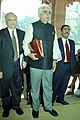 The Union Finance Minister Shri Jaswant Singh entering Parliament to present Interim General Budget in New Delhi on February 03, 2004.jpg