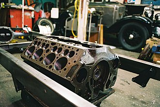 Cam-in-block - Engine block of a Ford flathead V8 engine showing the location of the valve ports (the holes above the large cylinder bores)