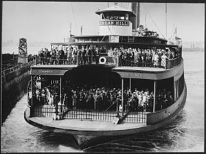 Dongan Hills, Staten Island - The neighborhood's name was lent to this ferry seen approaching the landing in 1945