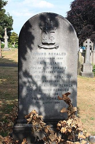 Edmund Ronalds - The grave of Edmund Ronalds, Rosebank Cemetery