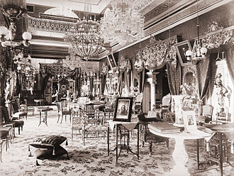 Basheer Bagh Palace - The interior of Bashir Bagh Palace, photographed by Lala Deen Dayal circa 1880