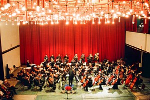 Classical music in Kosovo - The philharmonic orchestra of Kosovo performing at the Red Hall