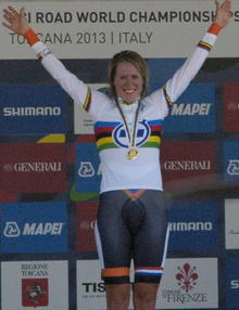The podium of the women's time trial at the 2013 UCI Road World