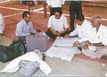 The polling personnel checking Electronic Voting Machine (EVM) for the first phase of General Elections-2004 in Raipur, Chattisgarh on April 19, 2004.jpg