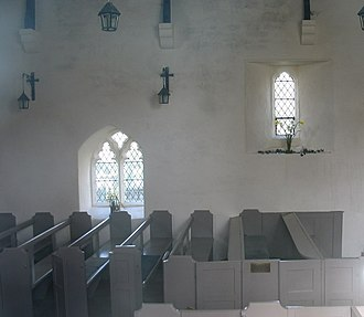 St Tyfrydog's Church, Llandyfrydog - The interior of the church, showing the box pews