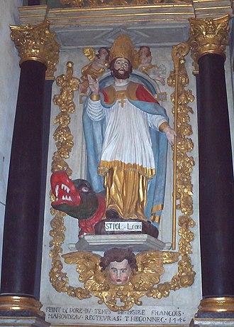 Paul Aurelian - St Pol, as represented in the parish church of Saint-Thegonnec, Brittany.