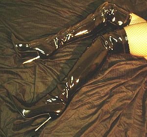 Thigh-high boots - Black vinyl fetish thigh-high (or thigh-length) boots