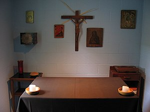 Thomas Merton's hermitage (interior) at the Ab...