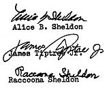 Three autographs by Alice Sheldon and her pseudonyms.jpg