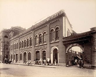 Horniman Circle Gardens - Times of India Buildings, corner of Elphinstone Circle (now Horniman Circle), ca. 1880