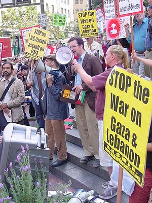 Dianne Feinstein - Anti-war activist Todd Chretien protests outside of Senator Feinstein's office in San Francisco