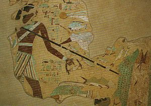 Ankhtifi - Fishing scene from the tomb of Ankhtifi at el-Mo'alla