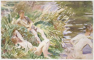 <i>Tommies Bathing</i> (John Singer Sargent) watercolor painting by John Singer Sargent