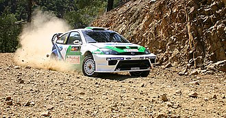 Toni Gardemeister - Gardemeister with a Ford Focus RS WRC 04 at the 2005 Cyprus Rally.