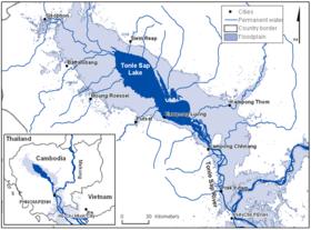 Mapa del lago Sap y las áreas de retiro de sus aguas durante los monzones