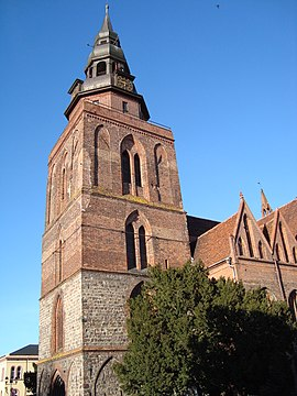 Tower of church NMP in Gryfino.JPG