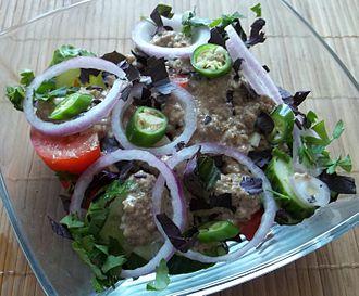 Georgian cuisine - Traditional Georgian vegetable salad with walnuts